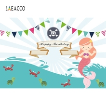 Laeacco Little Mermaid Backdrop Princess Girl Underwater Fish Coral Birthday Party Baby Photographic Background For Photo Studio
