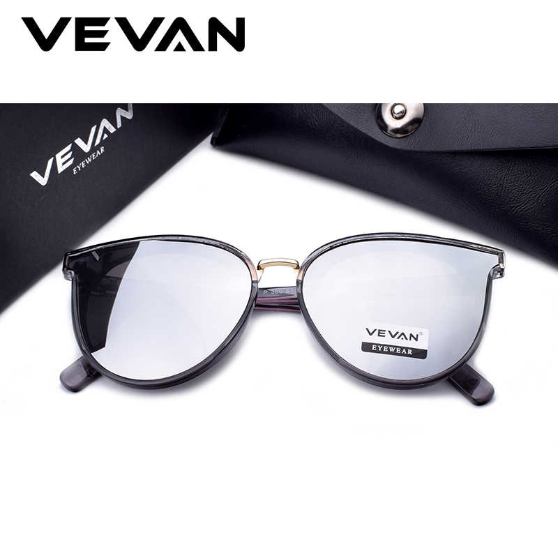 VEVAN 2019 High Quality Cat Eye Polarized Sunglasses Women UV400 Mirror Pink Sun Glasses Bees oculos de sol With Box