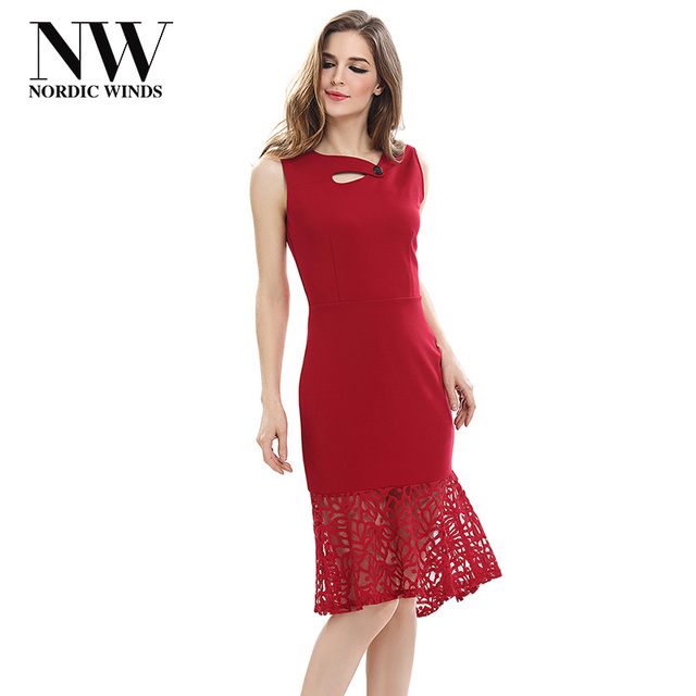 c0967f8cbbf 2018 Summer Dresses Plus Size Women Round Neck Red Lace Dress Sleeveless  Black Casual Female Elegant Evening Knee Length Dresses