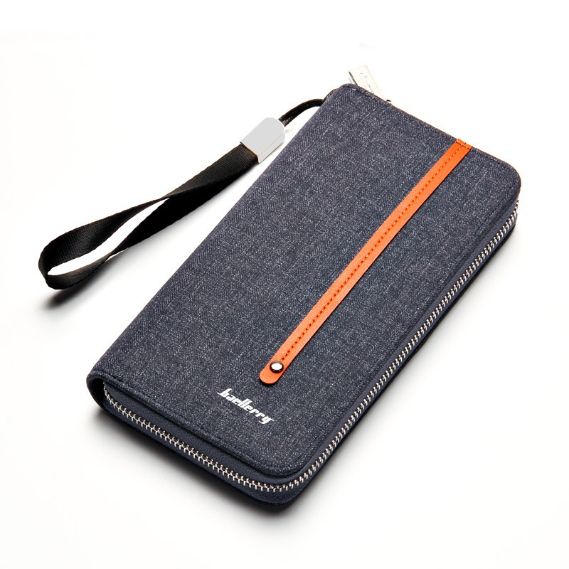 long canvas men wallet brown striped male Clutch bag vintage denim Purse card coin Phone Pocket kashelek with wrist strap rope long wallet mobile phone canvas bag leather vintage old denim handbag and girlfriend gift