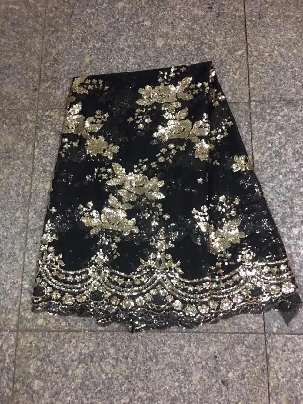 Новые африканские кружевные ткани 5 ярдов Золотая черная французская сетка с блестками вышивка нигерийские кружевные ткани оптом для свадебной вечеринки