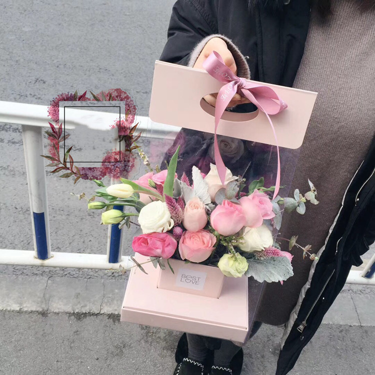 1pcs Caixa de Papelão Caixas de Flores de Papel Rosa Dia Dos Namorados Caixa de Presente Do Favor de Partido Embalagem Buquê Florista Giftcases suprimentos