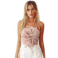 Suede Crop Tops Women 2017 Spring Summer Off Shoulder Zipper Camisole Sleeveless Sexy Evening Party Club