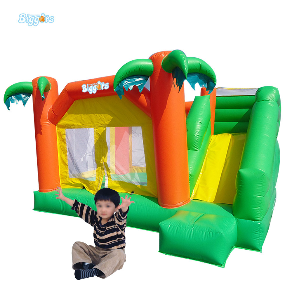 Tropical Bounce House Combo Inflatable Bouncy Obstacle Inflatable Bouncer For Kids 6 4 4m bounce house combo pool and slide used commercial bounce houses for sale