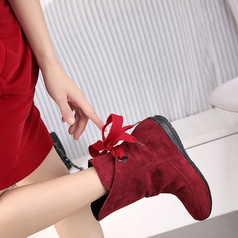 COOTELILI Plus Size Ankle Boots For Women Shoes Lace-Up Ladies Shoes Fashion Rubber Boots Women Winter Shoes Red Black 41 42 43  (9)