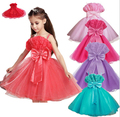 Retail 2015 NEW 3-10 Age Summer Baby Girl Dress Elegant  Party girl Princess dress Children Kids Clothing 6 Colors Free shipping