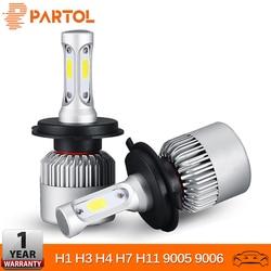 Partol H4 H7 H11 H1 coche LED bombillas de faros 72W 9005 LED 9006 H3 9012 H13 5202 COB del automóvil faro antiniebla 6500K 12V 24V