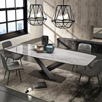 Mesa de comedor de mármol rectangular pequeño apartamento Luz de lujo mesa de comedor diseño posmoderno minimalista mesa de conferencia