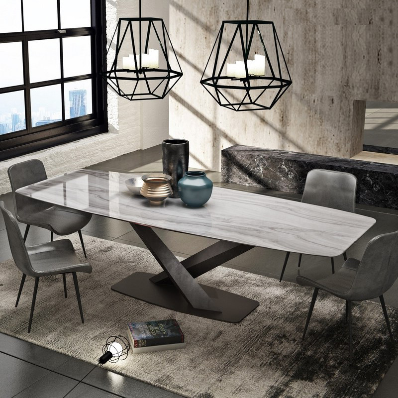 US $606.0 |marble dining table rectangular small apartment light luxury  dinner table designer postmodern minimalist conference table-in Dining  Tables ...