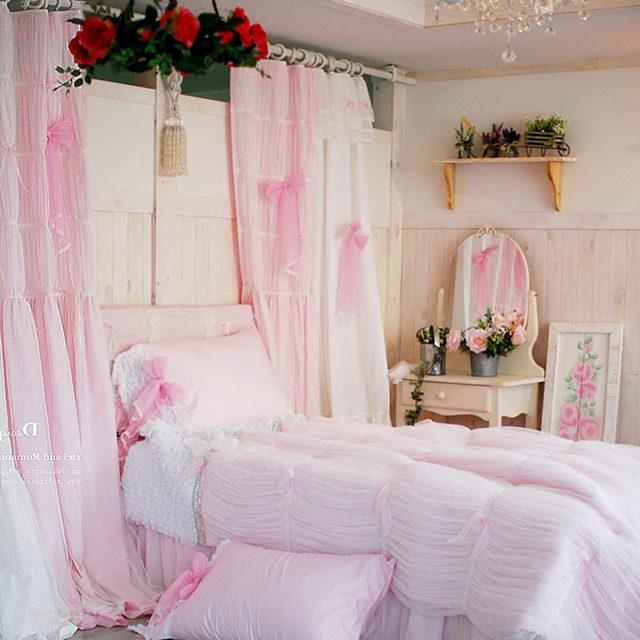 Romantique ensemble de literie rose princesse dentelle housse de ...