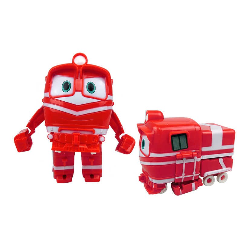4pcs/set 13cm Robot Trains Transformation Kay Alf Dynamic Train Family Deformation Train Car Action Figure Toys Doll for Boys
