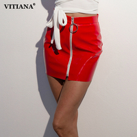 VITIANA Women Sexy High Waist PU Leather Skirt Female Black White Zipper Short Skirt Casual Bodycon Slim Mini Party Skirt