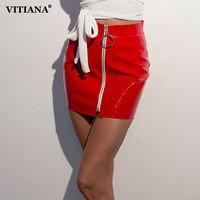 Vitiana Для женщин пикантные Высокая Талия искусственная кожа юбка женский красный черный, белый цвет молнии Короткие Повседневное Bodycon Slim Mini н...