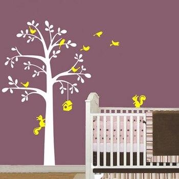 Sticker Mural | Moderne Arbre Forêt écureuils Oiseaux Pépinière Arbre Stickers Muraux Vinyle Mur Art Stickers Autocollant Pour Enfants Bébé Chambres Affiche Décor