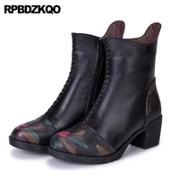 Floral Print Winter Chunky Round Toe Booties Flower Printed Women Ankle Boots Medium Heel Shoes Thick