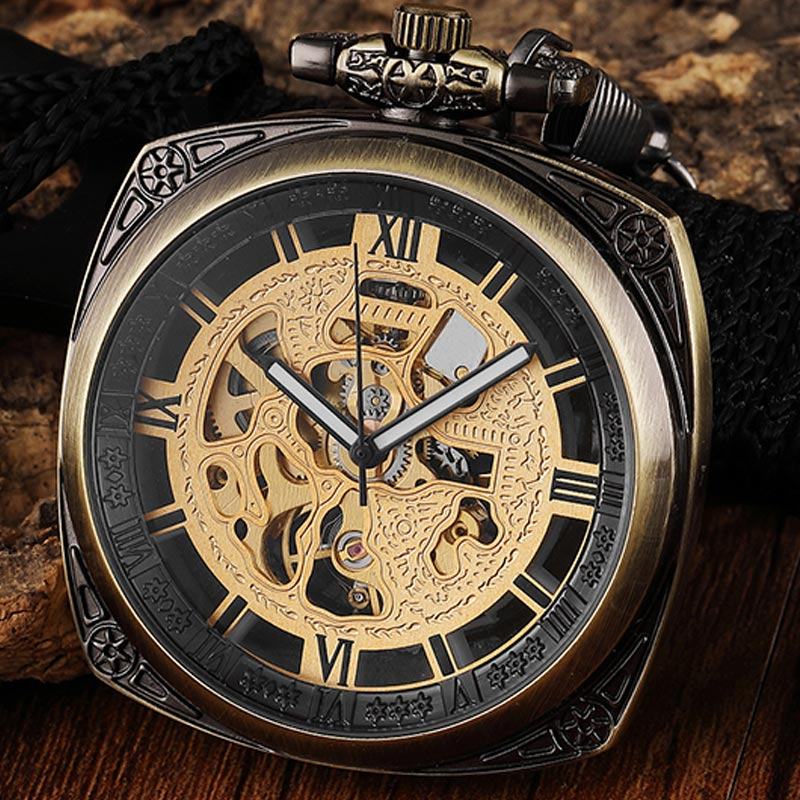 High Quality Bronze Steampunk Vinage Mechanical Pocket Watch Chain Necklace Retro Skeleton Fob Watch Hand Winding Men Women Gift