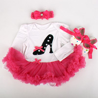 Christmas Gift Baby Girls Boys Long Sleeve Lace Skirt Jumpers Headband Shoes Set Fashion Infant Wear