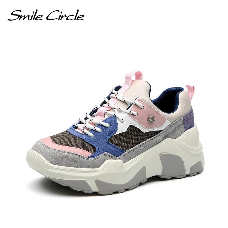 Uśmiech koło kobiet Sneakers grube zamszowe płaskie buty na koturnie wiosna jesień oddychające buty w stylu casual damskie buty czarny w Damskie buty z gumową podeszwą od Buty na  Grupa 1
