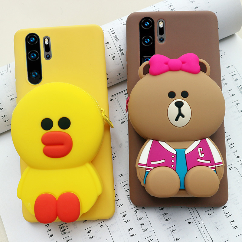 FAYDAI For Huawei P30 Lite Case 3D Cute Cartoon Wallet Phone Pro P 30 Cover Soft TPU Silicone Back
