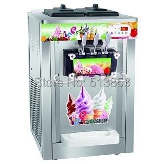 Stainless Steel, Rainbow Ice Cream Machine Soft Serve Sundaes machine, 220V50Hz with UK 3-pin plug, 22~25 liters/hour