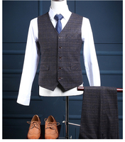 Custom Merk Vesten Suits Broek Fashion Leisure Slim Fit mannelijke Pak Vest Donkergrijs Plaid Bruiloft Bruidegom Prom Business Tuxedos