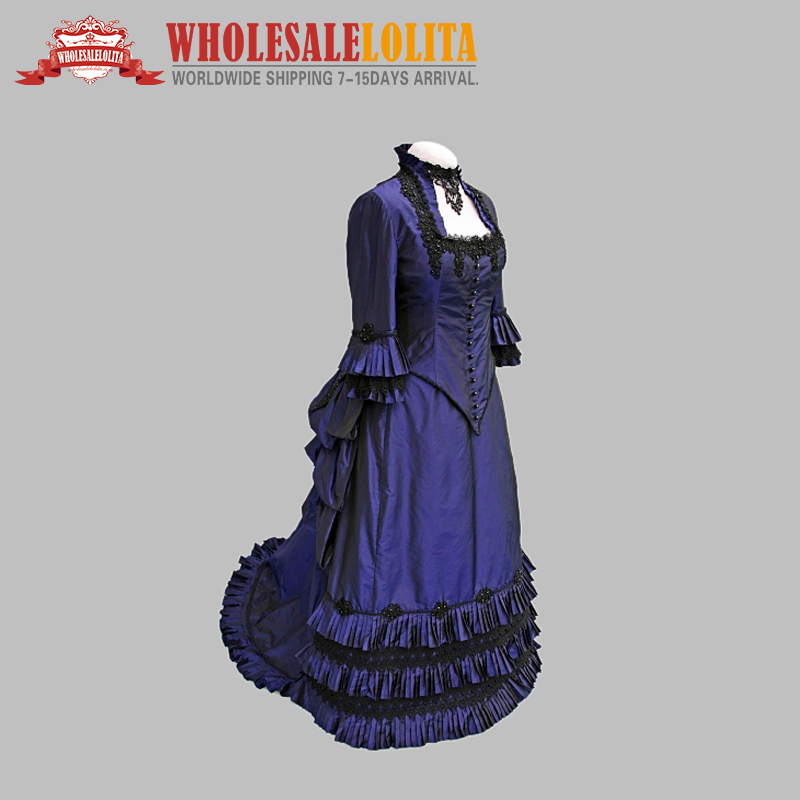 Blue Victorian Bustle Ball Gown Victorian Dress Victorian Dress Victorian Bustle Dress Period Dresses