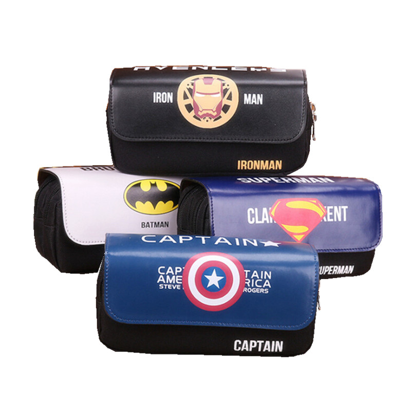 New Arrival Captain America /iron Man/Batman/Superman Pencil Pen Case Cosmetic Makeup Coin Pouch Zipper Bag Purse Dollar Price dc marvel comics pencil wallets avengers hero captain america spider man iron man rectangle long pencil bag zipper pouch purse