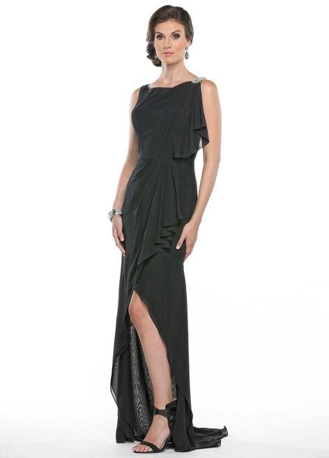 New Fashion Custom Made Sheath Tank Side Slit Black Mother Of The Bride Dresses