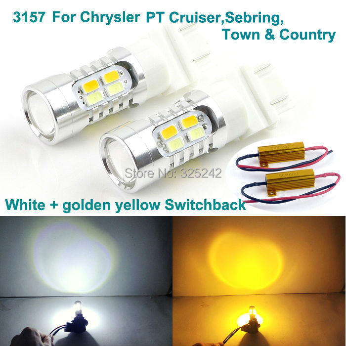 For Chrysler PT Cruiser,Sebring,Town Country Excellent Ultra bright 3157 Dual-Color Switchback LED DRL+front Turn Signal light