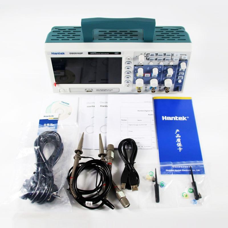 Hantek DSO5102P Oscilloscope Numérique Portable 100 MHz 2 Canaux 1 GSas Longueur D'enregistrement 40 K USB LCD De Poche Osciloscopio 7 Pouce