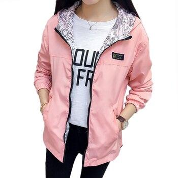 Spring Autumn Fashion women Bomber women Jacket Pocket Zipper Hooded Two Side Wear Outwear Loose Plus Size Windbreaker Famale