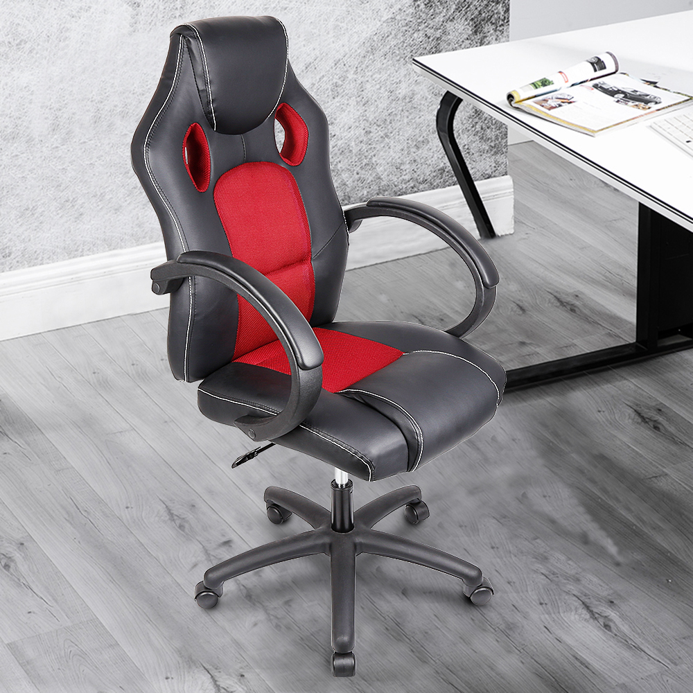 Stylish Double-hole Permeable Chair Modern Home Gaming Office Chairs Height Adjustable Soft PU Leather Rotating Lift Stool