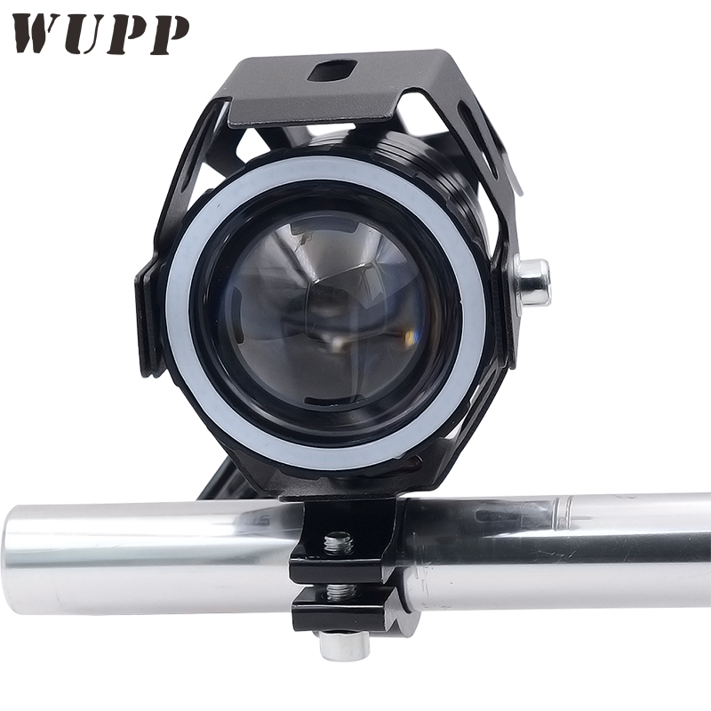 WUPP Motorcycle Headlamps Led U7 Transformers External Spotlights 12V 3000Lmw 15W Led Headlights With Blue Angel Eye