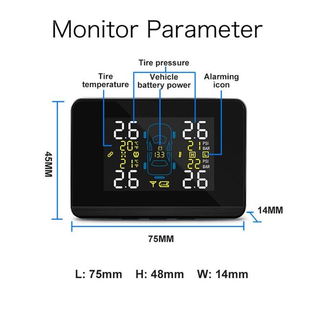 U906C Car Tire Pressure Monitoring System TPMS Tyre Pressure Sensor Auto Inspection Device LCD Display Dual USB Charging Port 4