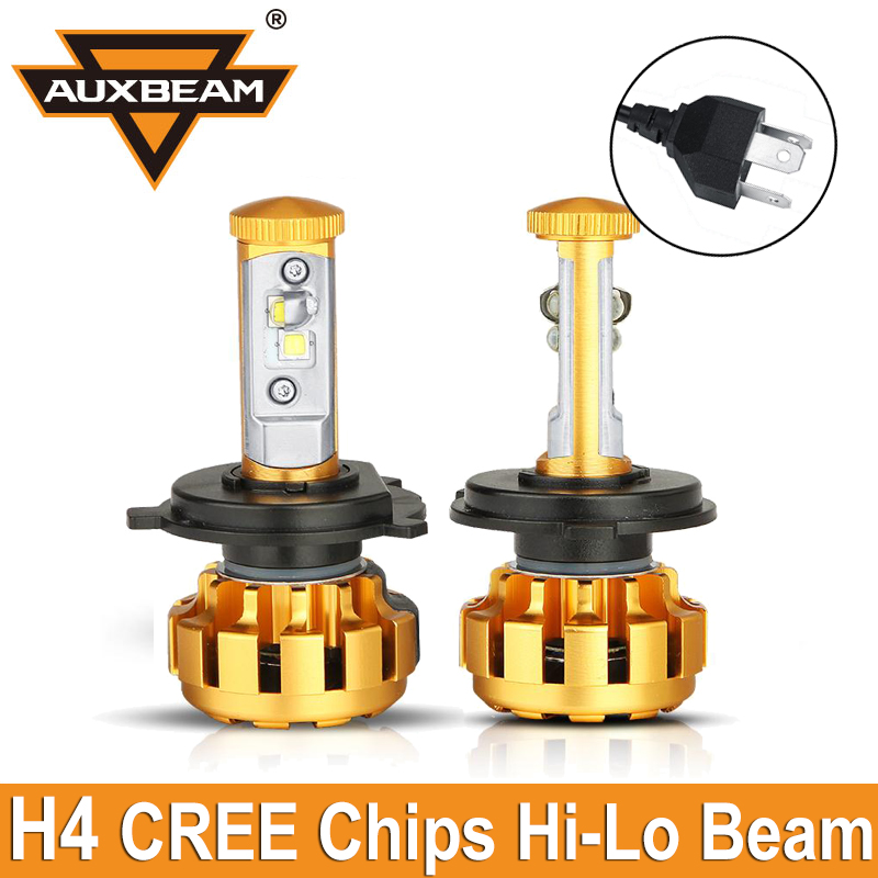 Auxbeam 2pcs Cree Chips 80W pair Hi Lo Beam H4 Car LED Headlight Luxury Conversion Kit