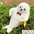 Día de san valentín de regalo de animales marinos alrededor de 40 cm blanco bowtie del sello sello de juguete de felpa muñeca regalo de cumpleaños b4865
