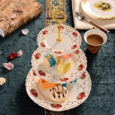 Estilo Europeu de cerâmica pastelaria stock, coração prato, bandeja de doces, cerâmica, três camadas prato de frutas secas, rack de bolo, bandeja - 3