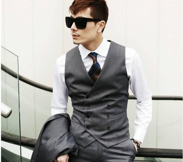 Venda quente Slim Fit Cinza Colete Breasted Dobro Dos Homens de Negócios Formal Ocasião Colete Casamento/Baile/Jantar Colete
