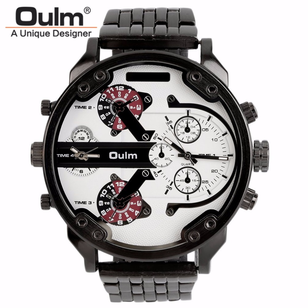 OULM Business Stainless Steel Watch Men Big Luxury Quartz Watches Multi-time Zone Dials Male Casual Outdoor Mens Wristwatch