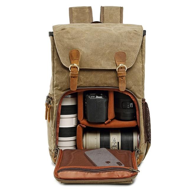 Bát quái Vải Bạt Chống Nước Chụp Ảnh Túi Ngoài Trời chịu Mài Mòn Camera Lớn Hình Ba Lô Nam cho Nikon/Canon/Sony /Fujifilm