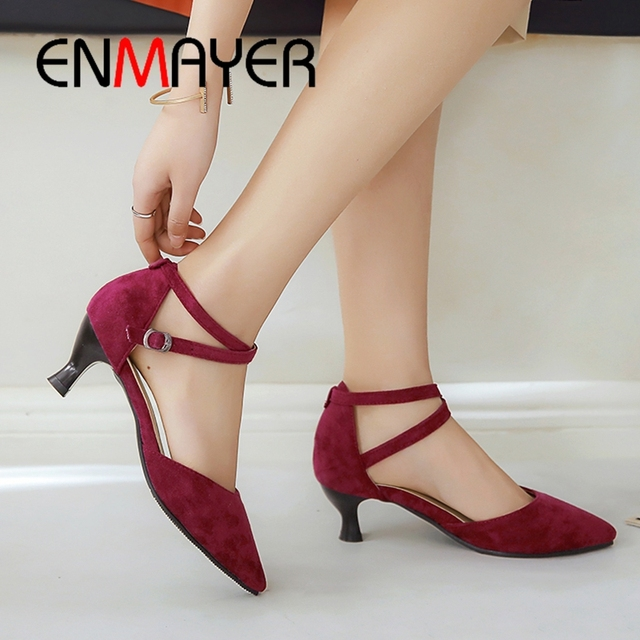 ENMAYER 2019 Women  Basic  Med Thin Heels Zapatos De Mujer Women Shoes Pointed Toe Office & Career Solid Shoes Size 34-43 LY1858