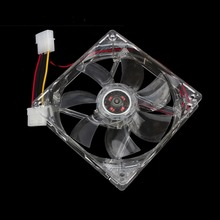 12V 4Pin 120mm Computer Cooler PC CPU Cooling Fan 4 Blue LED Light Clear Case Quad 12V