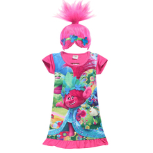 купить 2018 new trolls Wig +dresses set Children Costumes For Girls Carnival Kids Costumes Summer Girl Dress Trolls Clothes Poppy Party по цене 390.14 рублей