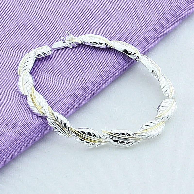 New Fashion 925 Silver Feather Bracelet Fine Jewelry For Women Silver Bracelets Bangles 2017 New Design Christmas Gift Ювелирное изделие