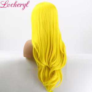 Image 3 - Lvcheryl, желтый цвет, Натуральные Прямые, ручная работа, термостойкие волосы, синтетические кружевные передние парики для косплея, Drag Queen, макияж