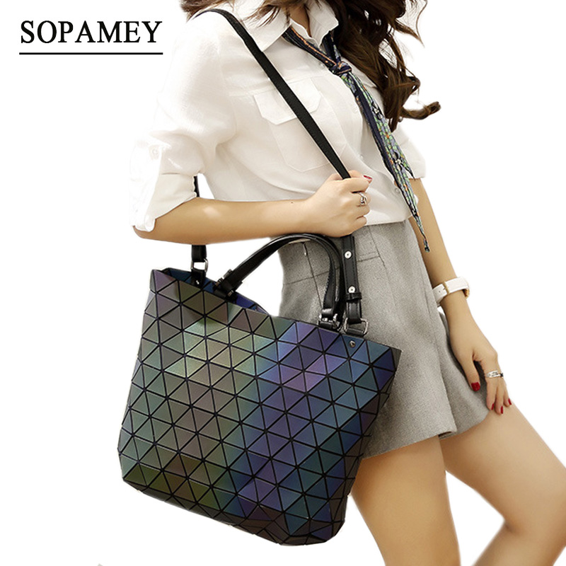Famous Brands Women Bao Bag Geometry Sequins Mirror Saser Plain Folding Bags Bucket Luminous Handbags Casual Tote Bag bolsos bao bao clutch women baobao bag geometry sequins plain bags handbag famou brands design wallet in women wallets ladies bags