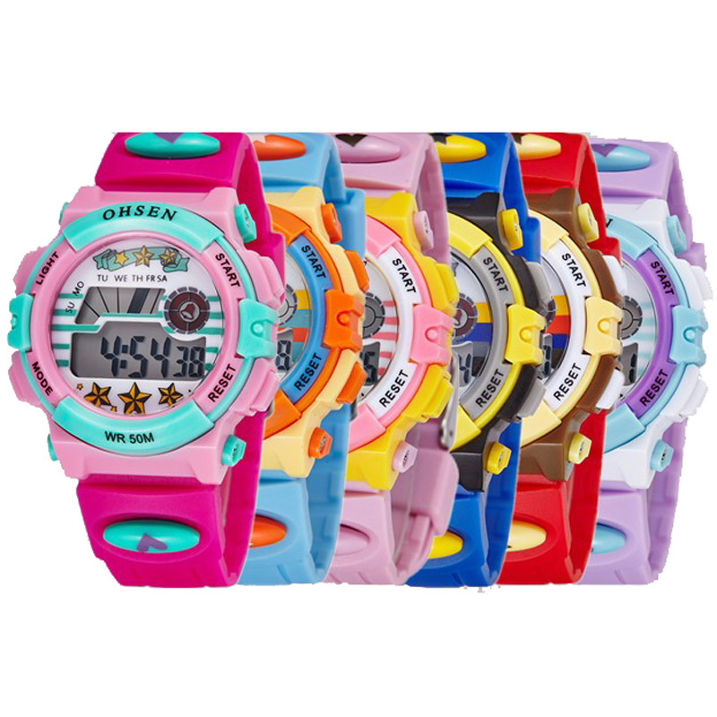 Beautiful Childrens Watches Waterproof Children Watch Boys Girls Led Digital Sports Watches Silicone Rubber Kids Alarm Date Casual Watch Watches
