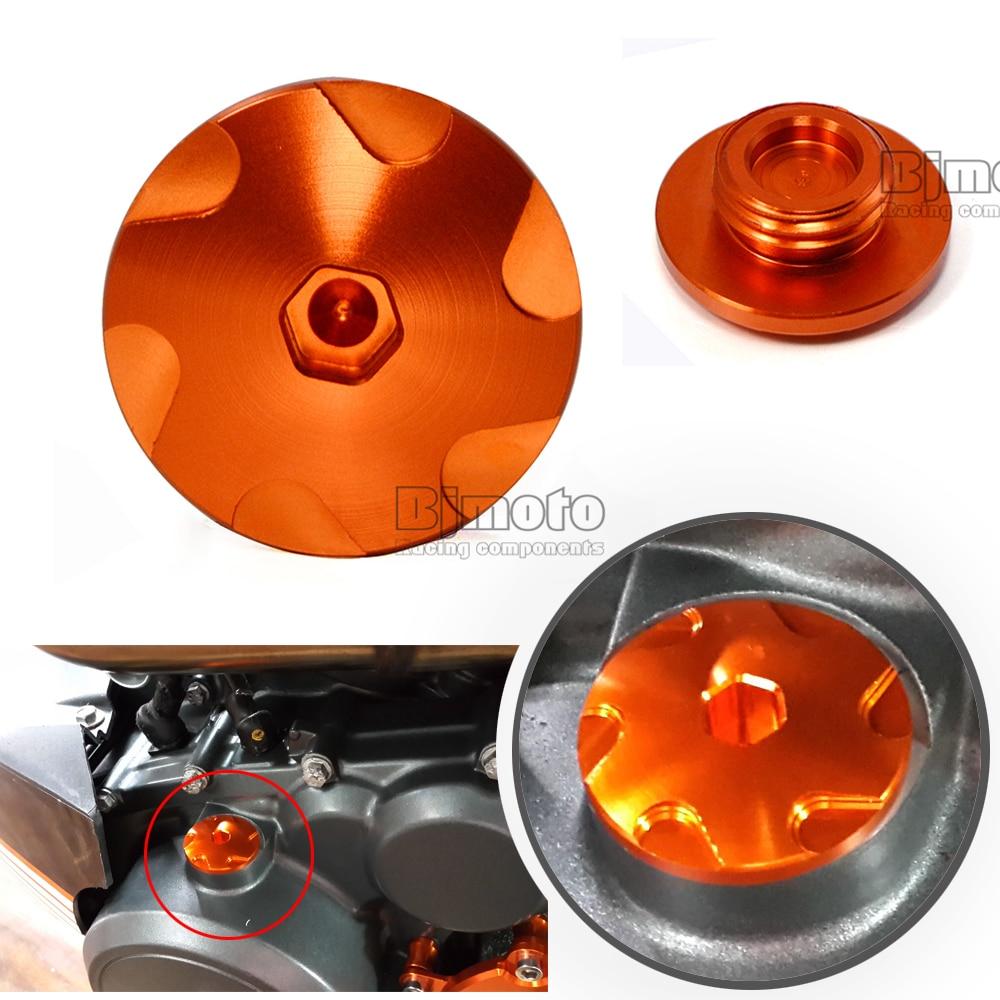 1Set Orange Motorcycle Aluminum Car Racing Engine Cover Camshaft Oil Plug For  KTM DUKE 125/200/390 2013-2017 for ktm duke 125 200 390 motorcycle accessories orange motorbike cnc aluminum handlebar risers top cover clamp