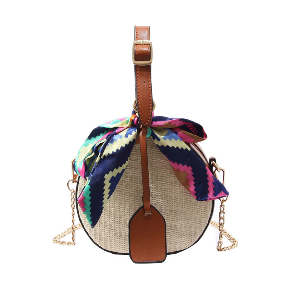 Women's Fashion Color Ribbon Straw Bag Saddle Bag Shoulder Bag Messenger Bag Famous Brand Borsa A Tracolla Da Don Bolsa Feminina