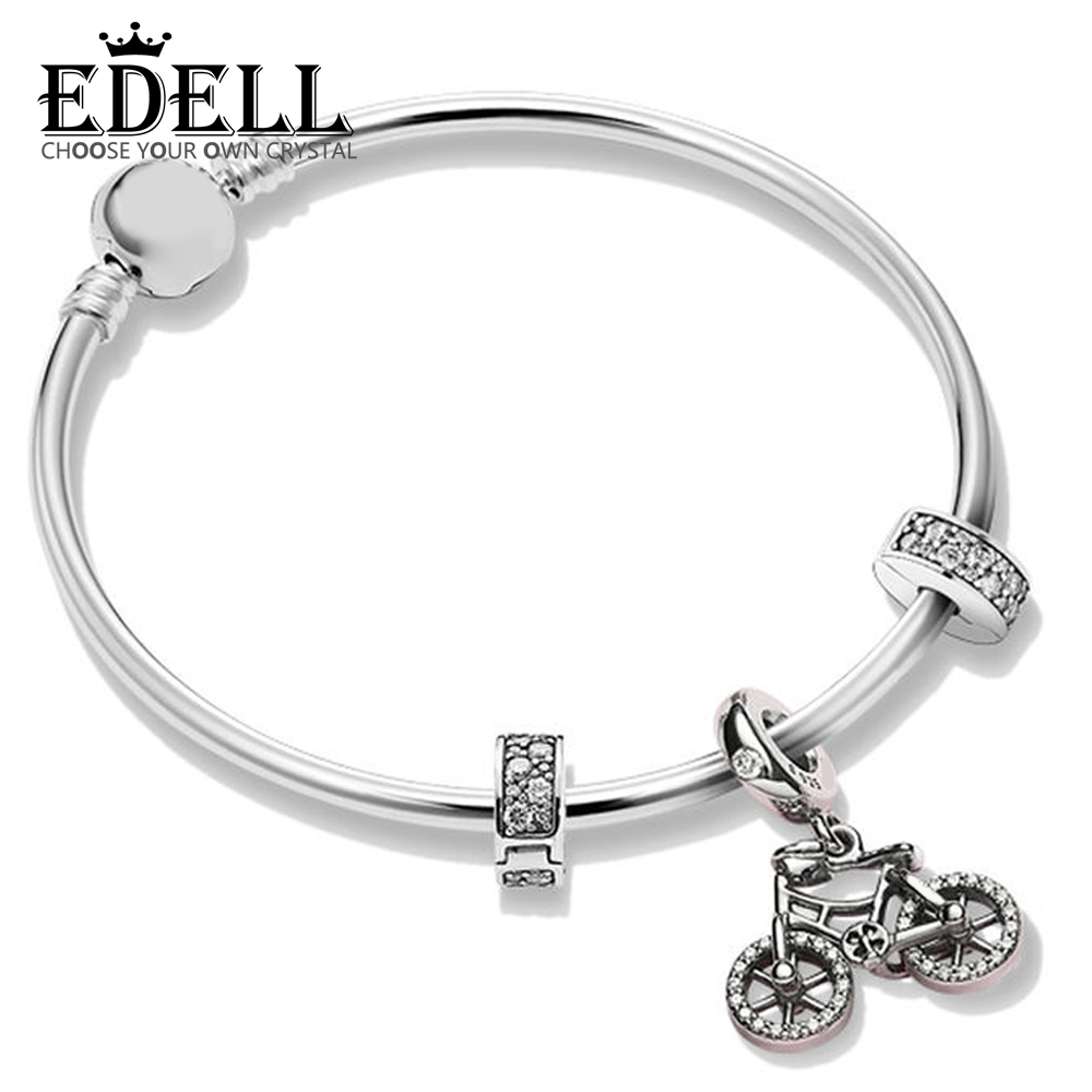 EDELL 100% 925 Sterling Silver ZT0261 Commemorative Moments Spring Strings Gift Bracelet Set Bicycle Hanging Glamour JewelryEDELL 100% 925 Sterling Silver ZT0261 Commemorative Moments Spring Strings Gift Bracelet Set Bicycle Hanging Glamour Jewelry
